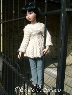 49. French and english knitting pattern PDF - Sweater irish tunic for Ellowyne Wilde and BJD doll