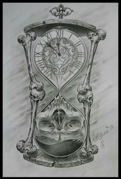 Tattoo reloj arena cráneo