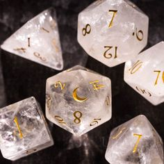 Dungeons And Dragons Dice, Clear Quartz Crystal, Crystals And Gemstones, Crystals Minerals, Hand Engraving, Wool Felt, Decir No, Best Gifts, Handmade Items