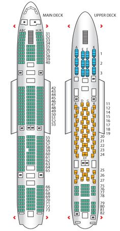Seat plan for the Thai Airways A380-800