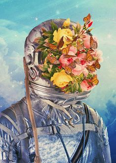 Displate Poster Retoñar: Reproducirse lo que había dejado de ser o estaba amortiguado. surrealism #scifi #digital #illustration #collage #flowers #astronaut