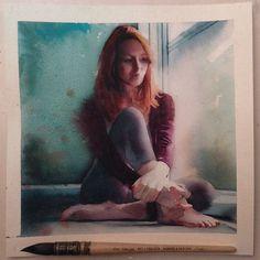 Quinta-feira, #aquarela #watercolor 20x20 cm, tentando aplicar as manchas que aprendi com o @avelino_art =P