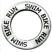 Swim Bike Run Triathlon Message Affirmation Ring Charm Triathlon Message Circle Charm Antique Silver Tone(China (Mainland))