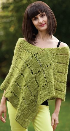 Ravelry: Eyelet Ponchini pattern by StevenBe    love the plaid look done simply with eyelets