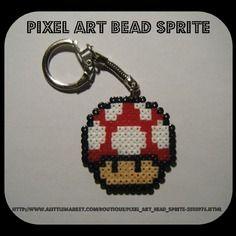 Porte clés champignon mario - nintendo - bead sprite