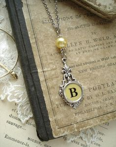 Typewriter Key Jewelry  Yellow Letter B by PreciousPastimes, $44.50