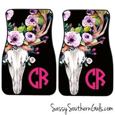 ON SALE NOW - 20% off Monogrammed Car Floor Mats| Bull Skull | Car Mats | Floral by SassySouthernGals on Etsy https://www.etsy.com/listing/159292333/on-sale-now-20-off-monogrammed-car-floor