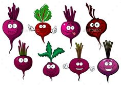 Cartoon beet vegetables characters with purple taproots, green haulms and happy faces. For vegetarian food or agriculture theme F
