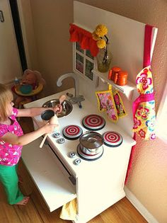 play kitchen made from old end table