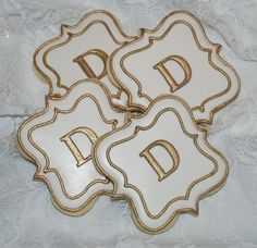 White and Gold Fancy Plaque Monogram Cookies - One Dozen Decorated Cookies