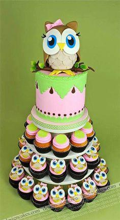 Owl Birthday Cake & Cupcakes ♡