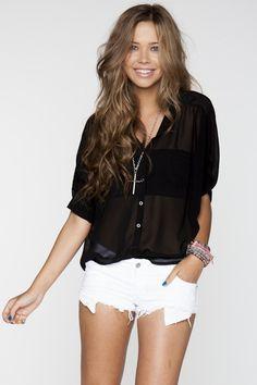 classic black shirt, white shorts