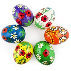 6 Hand Painted Flowers Wooden Easter Eggs - Fill your Easter basket with 6 colorful hand painted wooden eggs. Historically, one of the most popular Easter gifts was a hand painted in various patterns Easter egg.