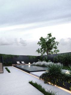 modern landscape design Greige on Behance Modern Landscape Design, Modern Garden Design, Terrace Design, Modern Landscaping, Outdoor Landscaping, Outdoor Gardens, Contemporary Garden, Pool Designs, Exterior Design