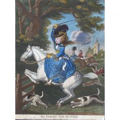 The Female Fox Hunter, produced in London ca. 1770. She's wearing a riding habit with her heels, an outfit composed of a shirt, necktie or cravat, waistcoat, jacket, and petticoat; the riding habit was based on the cut of men's clothes and worn as casual dress for active pursuits.