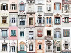 So far, Gonçalves has photographed windows in Italy, Austria (pictured here), Spain, and his native Portugal. Unlike the more brightly colored ones in Venice, the windows in the Alps had a more muted color palette. To get some of the shots, he went into buildings across the street to shoot from eye level.
