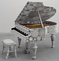 Piano Dentelle...makes that Grand Piano look dainty & vintage.  Takes crocheting/tatting to a whole new level