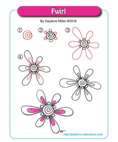 Zentangle Fwirl by Gaylene Miller Zentangle Drawings, Doodles Zentangles, Doodle Drawings, Doodle Art, Zen Doodle, Doodle Designs, Doodle Patterns, Zentangle Patterns, Doodle Borders