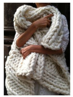 Who wouldnt want to wrap up in this GIANT hand knit beauty- Its super soft and super cozy and makes the PERFECT GIFT you ANY and EVERY one on your shopping list- Hankmade and 60% wool 40% acrylic ( gu