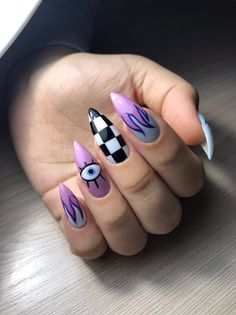 Acrylic Nail Designs Coffin, Simple Acrylic Nails, Summer Acrylic Nails, Simple Nails, Edgy Nails, Stylish Nails, Arylic Nails, Gothic Nails, Queen Nails
