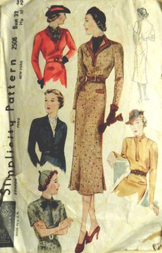 Vtg 1930s Street Frock Dress w/  Lovely  Vestee Options Simplicity 2508  Bust 32