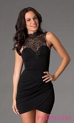 Short Black High Neck Dress at PromGirl.com