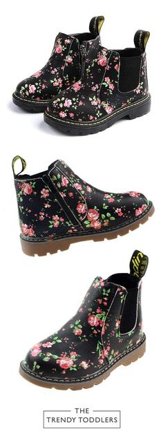 Toddler Non-Slip Girls Shoes Floral Rubber Martin Boots Color : Gold , Size : 11 M US Little Kid Durable