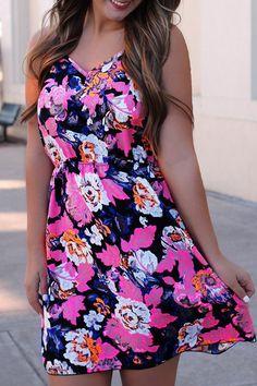 Floral Print Open Back A-Line Dress