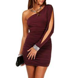 Burgundy Single Shoulder Bejeweled Dress (Christmas)