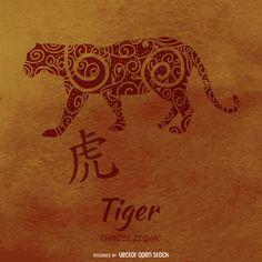 zodiaco chino con el dibujo de tigre