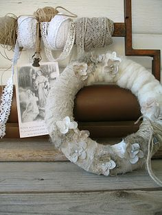 DIY Wreath!!  you could put snowflakes instead of flowers on it