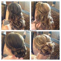 e2beauty, half up half down, braids, curls, updo, low bun, curls, bridesmaids hair, bridal hair, wedding hair  www.e2beauty.com