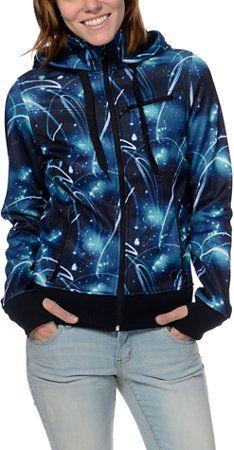 Empyre Girls Sarana Galaxy Print Black Fleece Tech Jacket at Zumiez : PDP