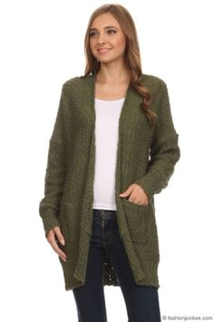 6cd6c6968f Long Sleeve Knit Open Front Cardigan Sweater with Pockets-Olive Green