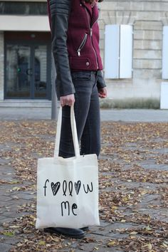 """Tote bag """"Follow Me"""" by Tote the Bag #totebag #madeinfrance #totethebag"""