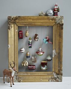 special ornaments hanging in an empty frame