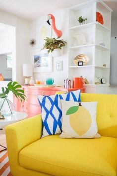 Lilien's Colorful Tropical Living Room Makeover Looking to re-decorate in May we introduce to our first home decor post of the year!Looking to re-decorate in May we introduce to our first home decor post of the year! Sala Tropical, Tropical Decor, Tropical Interior, Yellow Sofa, Yellow Rooms, Colourful Living Room, Bright Living Room Decor, Colorful Couch, Colorful Rooms