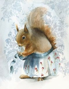 "Squirrel Cards- "" A New Apron""-  blank cards"