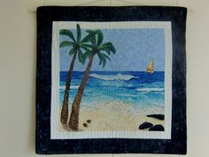 Tropical Beach Landscape Art Quilt Wall by KoloaQuiltsandMore, $150.00