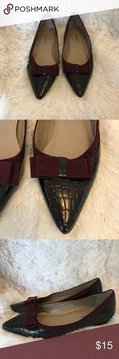 Liz Claiborne- Pointy Flats Classy pair of flats is fantastic condition. Great for the career girl no mayor flaws. Liz Claiborne Shoes Flats & Loafers