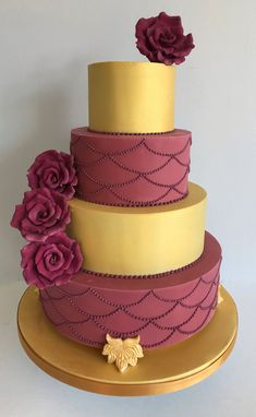 Gold and red 4 tiered luxury wedding cake by La Belle Cake Company based in Bedfordshire