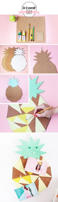 DIY geometric painted pineapple cork board! Add some fun to your office organizaton.