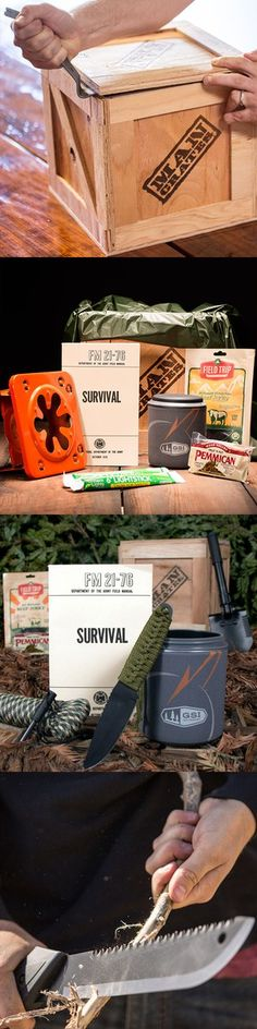 A holiday gift for the rugged survivalist on your list, if he can get the crate open! my man loved his last year. Christmas Gift Box, Christmas Time, Xmas, Craft Gifts, Diy Gifts, Holiday Parties, Holiday Gifts, Cool Gifts, Best Gifts