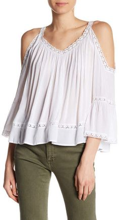 e71f49dc95741 Rebecca Minkoff Deneuve Cold-Shoulder Gauze Blouse