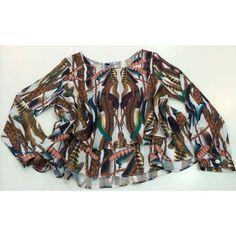 Blusa Solta babado duplo Estampa Penas ♡  #weloveit #news #inverno15 #trend #winter15 #provadorfashion #euqueroo #inlove #lançamento #fashion #glamour #details #luxo