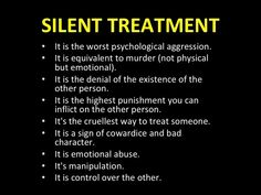 Silent treatment, a tool of narcissistic abusers Narcissistic Abuse Recovery, Narcissistic Behavior, Narcissistic Personality Disorder, Borderline Personality Disorder Quotes, Narcissistic Traits, Narcissistic People, Silent Treatment Quotes, The Silent Treatment, Messages