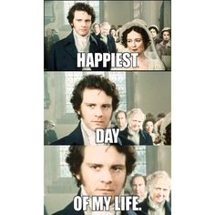 Mr Darcy is communicating his joy via baleful glaring