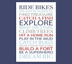24x36 Inch Little Boy Rules Poster - Digital Download - Ride Bikes Climb Trees Dream Big Explore Be A Superhero Hit A Home Run - Navy Blue by MyPrintBoutique on Etsy