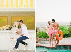 onelove photography www.onelove-photo.com Pool Fun Engagement Session Lemonade Stand Kiss
