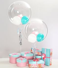 """24"""" Double Decor Bubble Balloon - Transparent Balloon with Ribbon Tassel for Party Decorations & Supplies Special Gift to Friends,No Need Heilum Anti-oxidant Long-Duration (Macaron's Dream, 24inch)"""